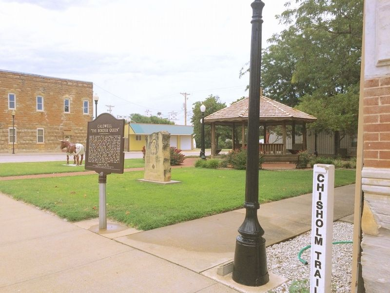 Chisholm Trail Marker and Chisholm Trail Pole image. Click for full size.