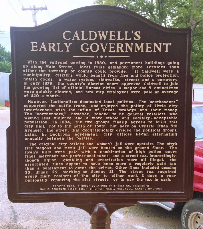 Caldwell's Early Government Marker image. Click for full size.