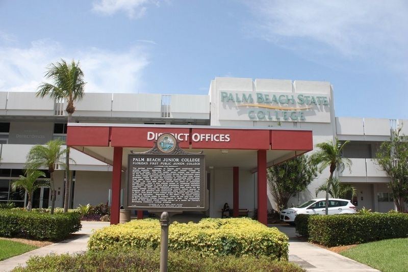 Palm Beach Junior College Marker and administration building image. Click for full size.