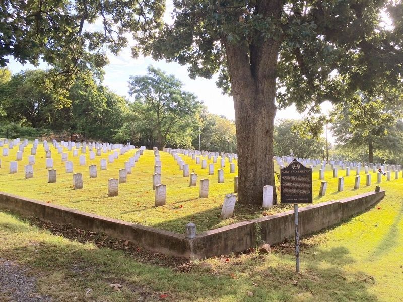 Fairview Cemetery Marker and graves of known and unknown Confederate Soldiers. image. Click for full size.