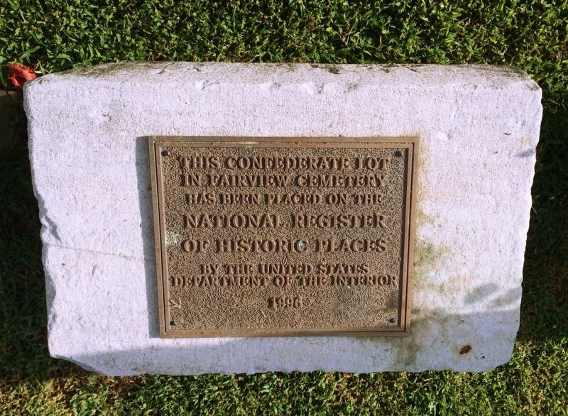 Plaque noting the Confederate Lot is on the National Register of Historic Places. image. Click for full size.