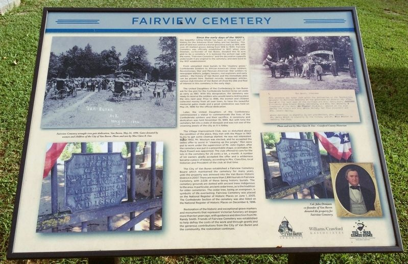 An interpretive marker nearby describes the history of the cemetery. image. Click for full size.