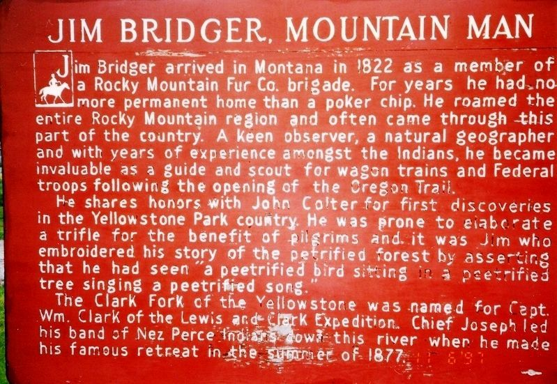 Jim Bridger, Mountain Man Marker image. Click for full size.