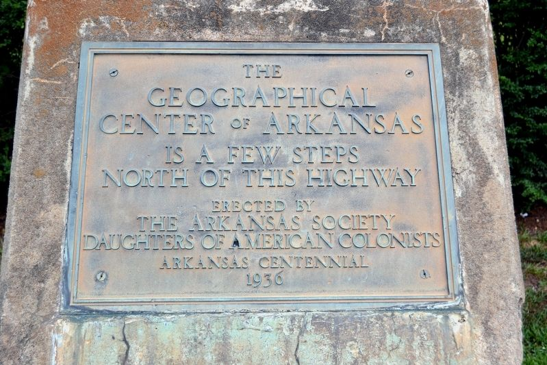 The Geographical Center of Arkansas Marker image. Click for full size.