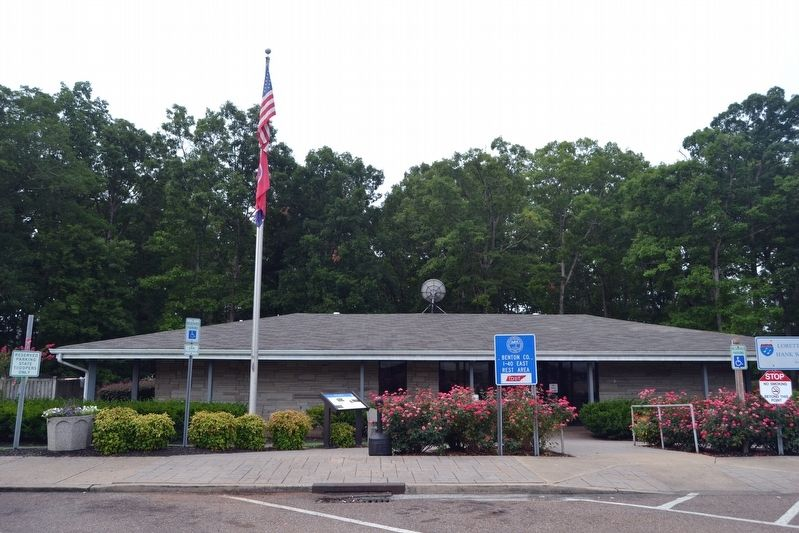 Fort Johnson Marker in Front of Rest Area Building image. Click for full size.