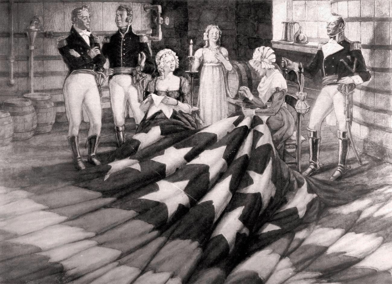 Placing the Stars on the Flag�<br>1962 Oil on Canvas image. Click for full size.