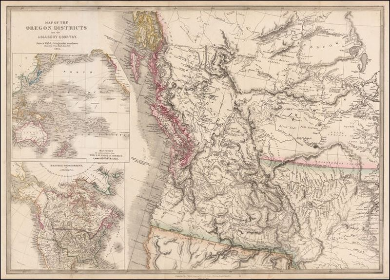 Contemporary map of the Oregon Territory image. Click for full size.