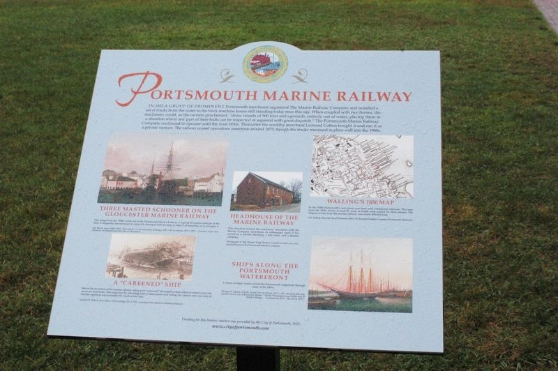 Portsmouth NH Marine Railway Marker image. Click for full size.