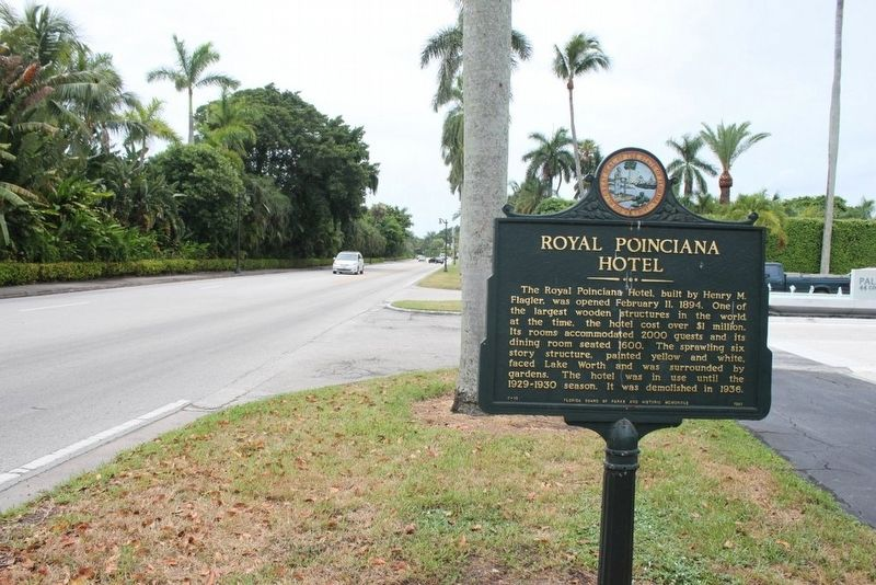 Royal Poinciana Hotel Marker next to Cocoanut Row looking south image. Click for full size.