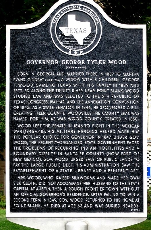 Governor George Tyler Wood Marker image. Click for full size.