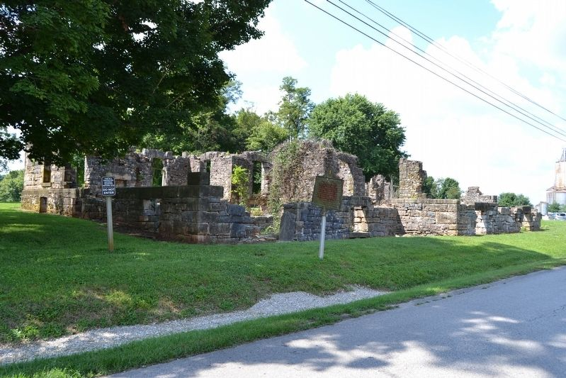 Marker in Front of Ruins of Bell's Tavern image. Click for full size.