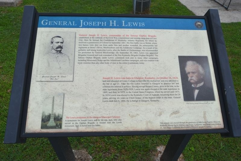 General Joseph H. Lewis Marker image. Click for full size.