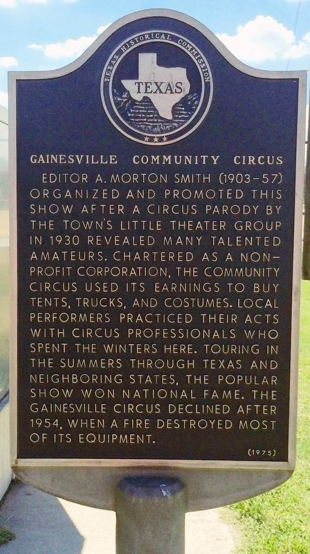 Gainesville Community Circus Marker image. Click for full size.