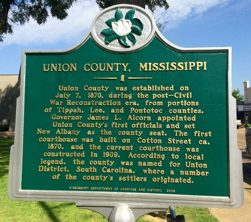 Union County, Mississippi Marker image. Click for full size.