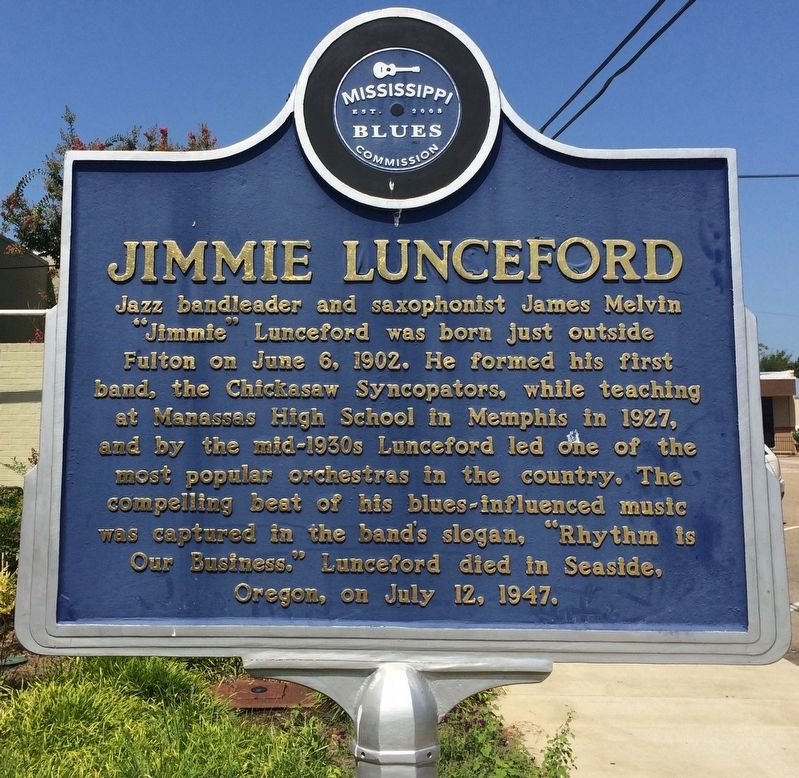 Jimmie Lunceford Marker (Front) image. Click for full size.