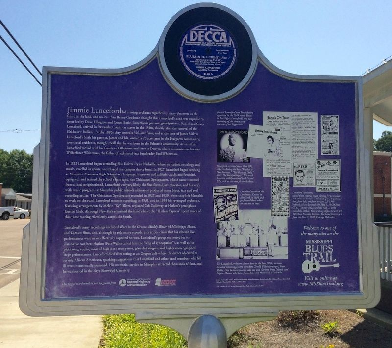 Jimmie Lunceford Marker (Rear) image. Click for full size.