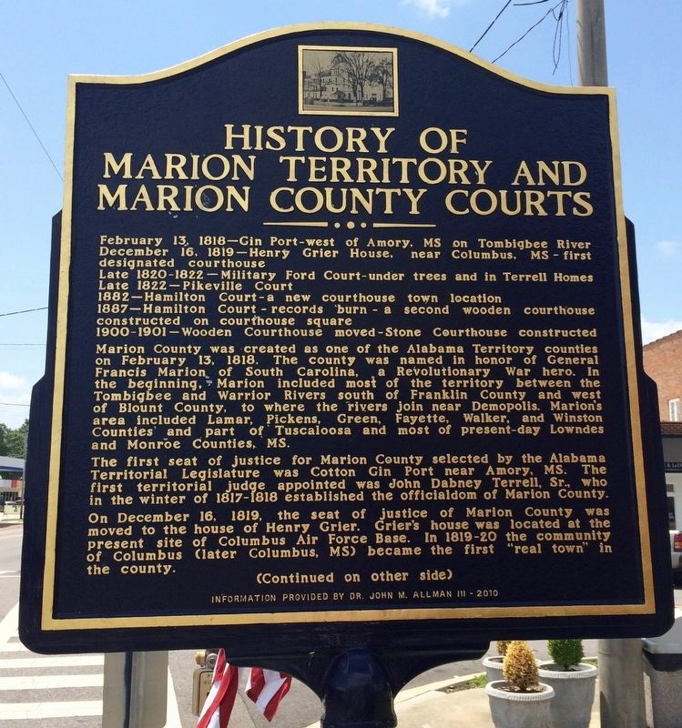 History of Marion Territory and Marion County Courts Marker (Front) image. Click for full size.