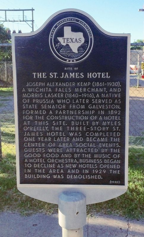 Site of St. James Hotel Marker image. Click for full size.