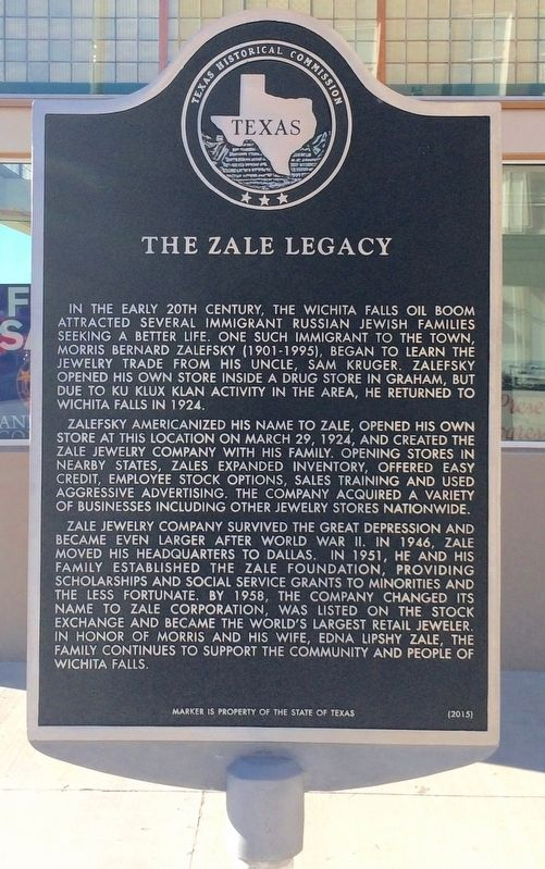 The Zale Legacy Marker image. Click for full size.
