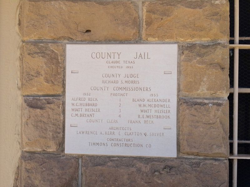 Armstrong County Jail cornerstone. image. Click for full size.