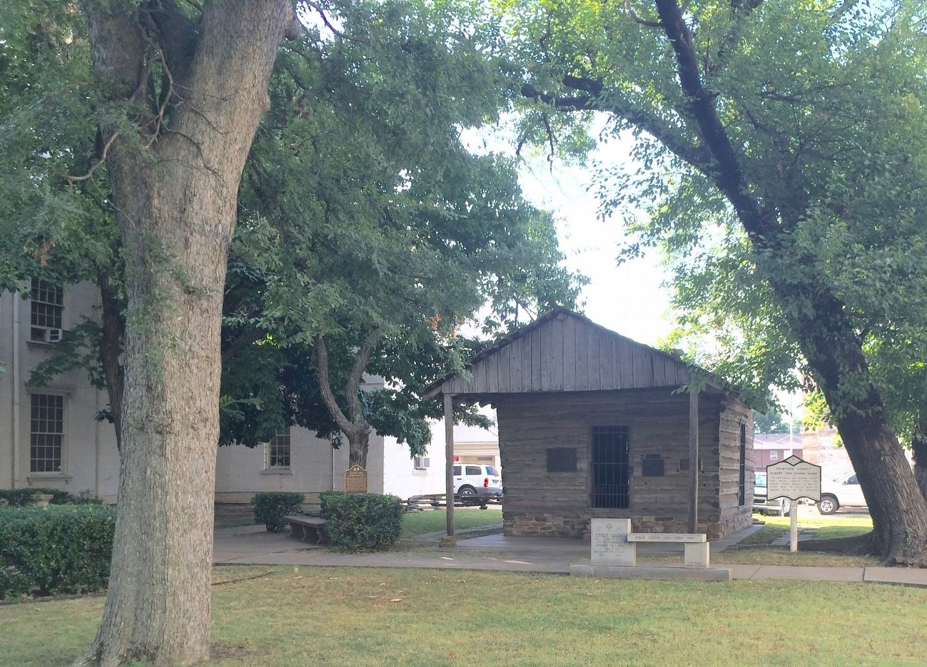 Albert Pike School House & marker. image. Click for full size.