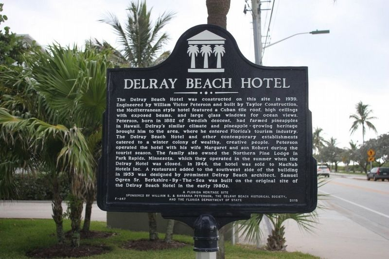 Delray Beach Hotel Marker image. Click for full size.