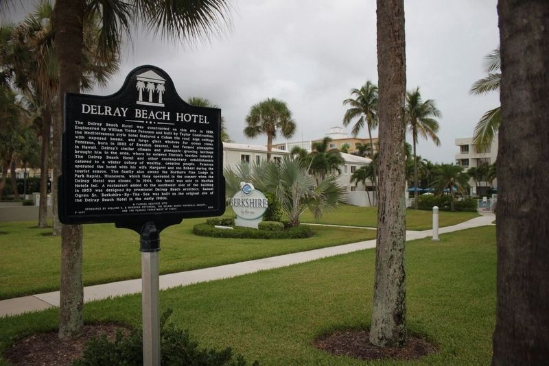 Delray Beach Hotel Marker with Berkshire-By-the-Sea in background image. Click for full size.