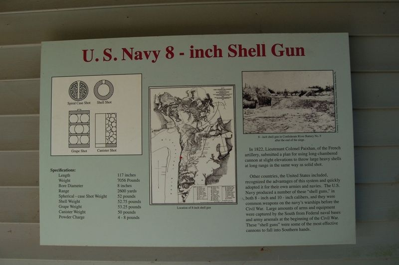 U.S. Navy 8 - Inch Shell Gun Marker image. Click for full size.