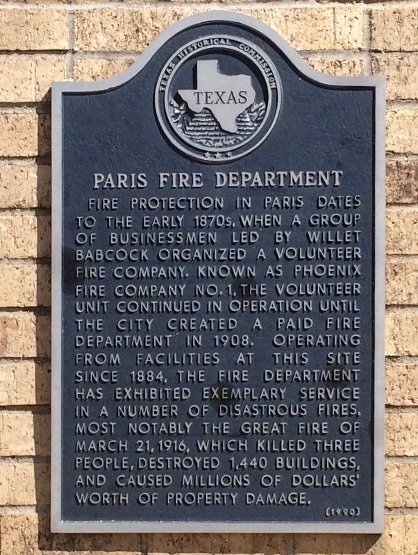 Paris Fire Department Marker image. Click for full size.