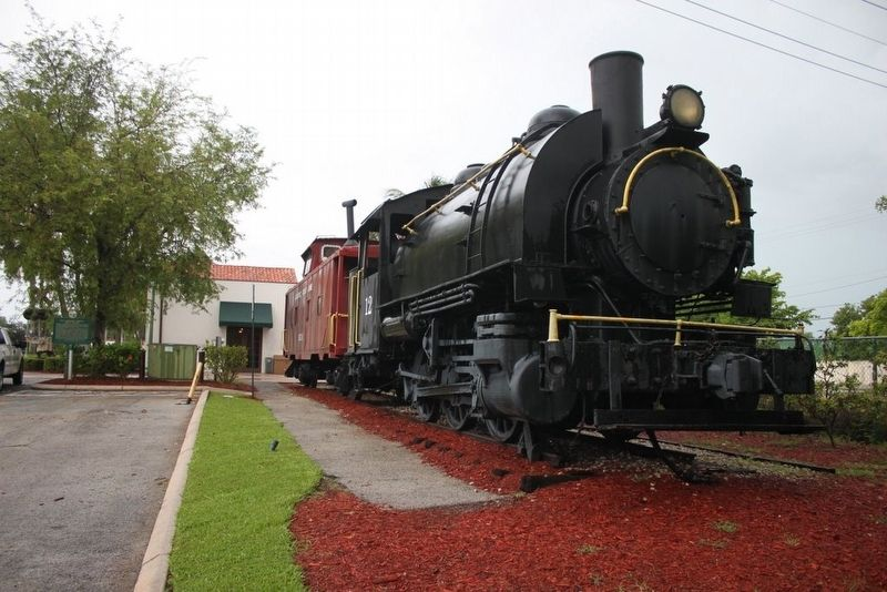 F.E.C. Railway Depot, Boca Raton Marker and part of depot and locomotive image. Click for full size.