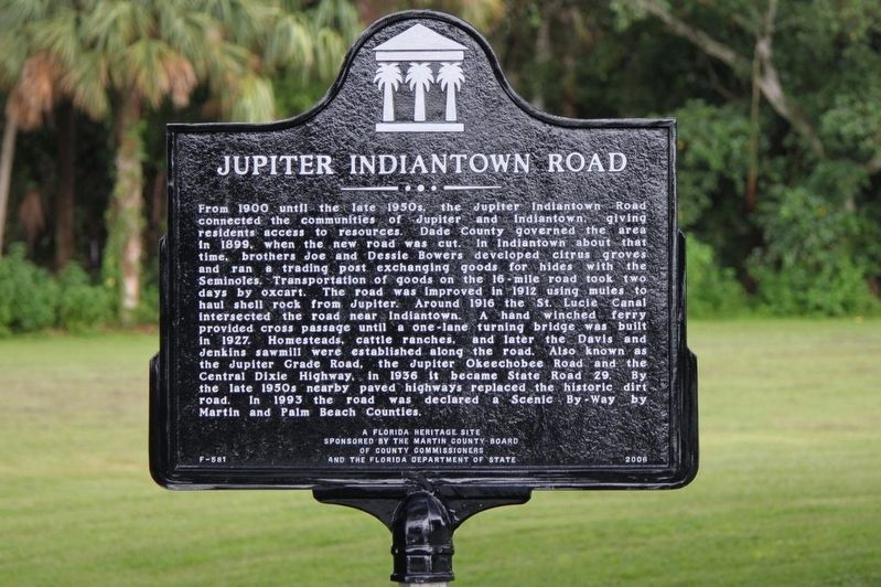 Jupiter Indiantown Road Marker image. Click for full size.