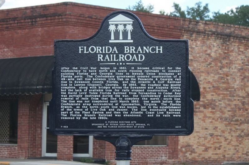 Florida Branch Railroad Marker image. Click for full size.