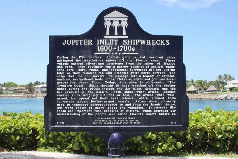 Jupiter Inlet Shipwrecks 1600-1700s Marker image. Click for full size.