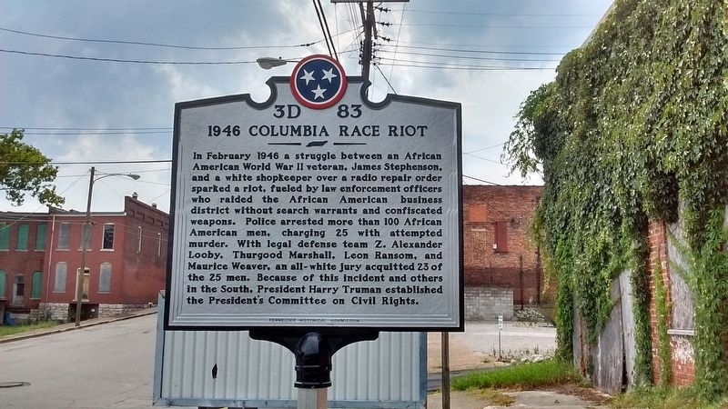 1946 Columbia Race Riot Marker image. Click for full size.