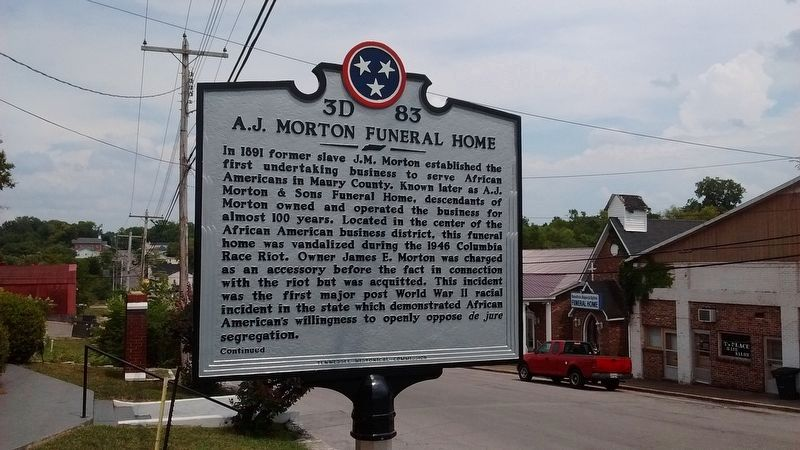 A.J. Morton Funeral Home Marker image. Click for full size.