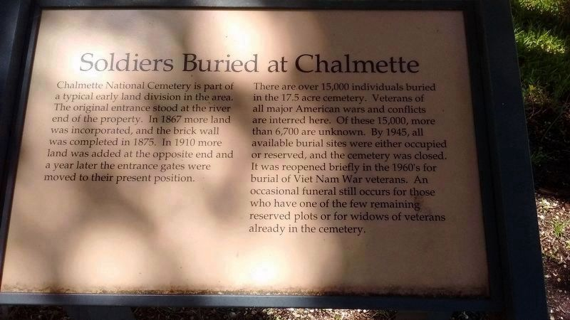 Soldiers Buried at Chalmette Marker image. Click for full size.
