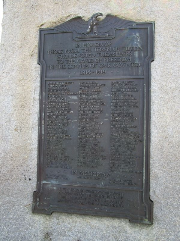 Tilton WWI Plaque image. Click for full size.