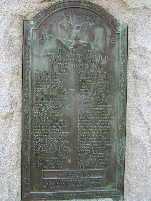 Northfield WWI Memorial image. Click for full size.