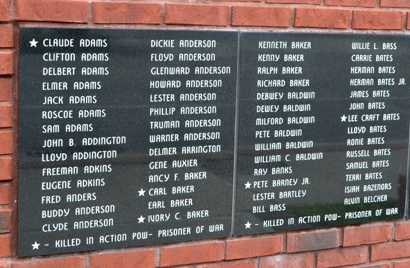 Names of World War II Veterans - Panels 1 and 2 image. Click for full size.