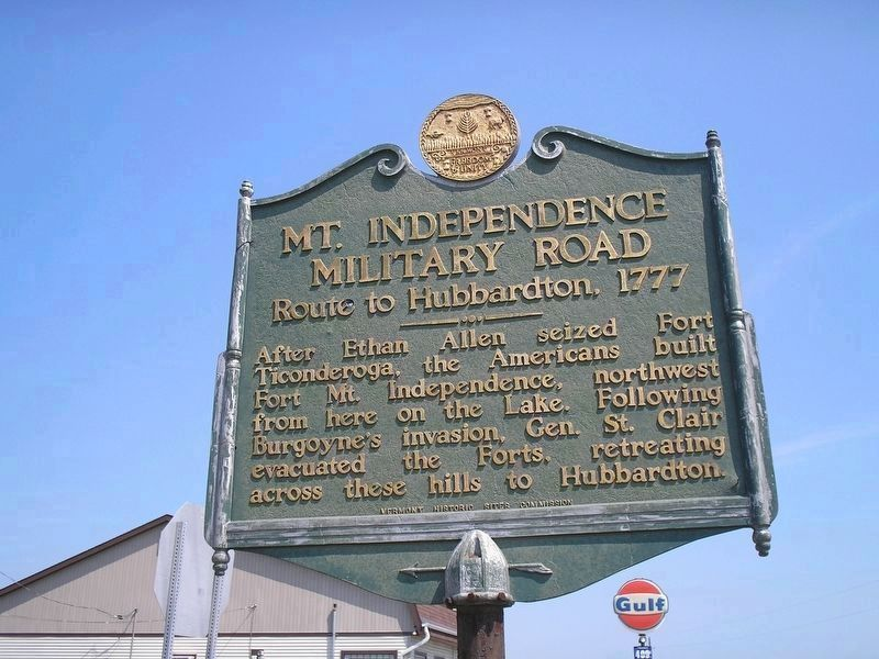 Original 1949 Mt. Independence Military Road Marker image. Click for full size.