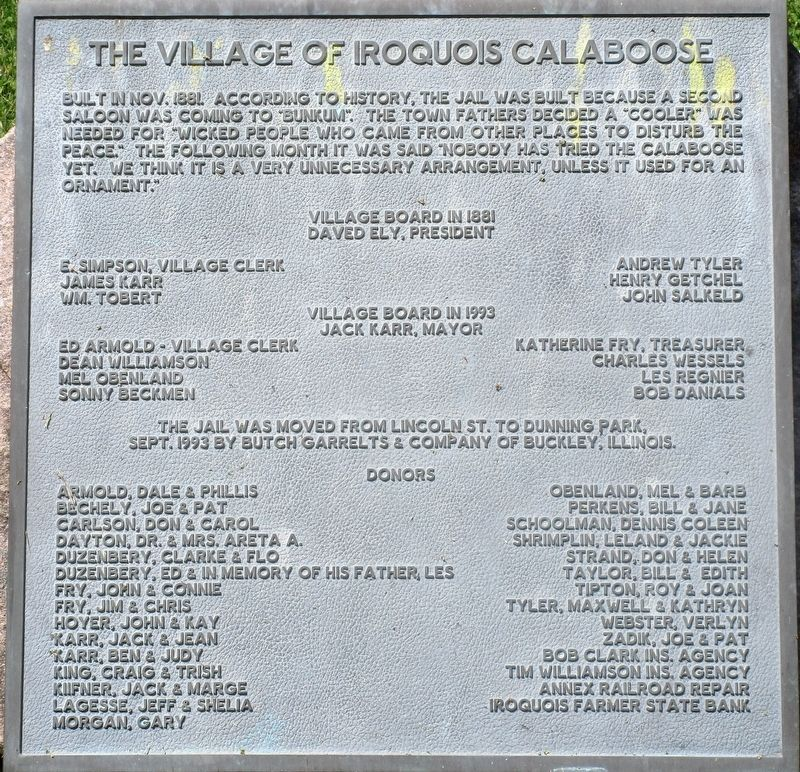 The Village of Iroquois Calaboose Marker image. Click for full size.