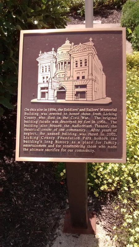 Soldiers' and Sailors' Memorial Building Marker image. Click for full size.