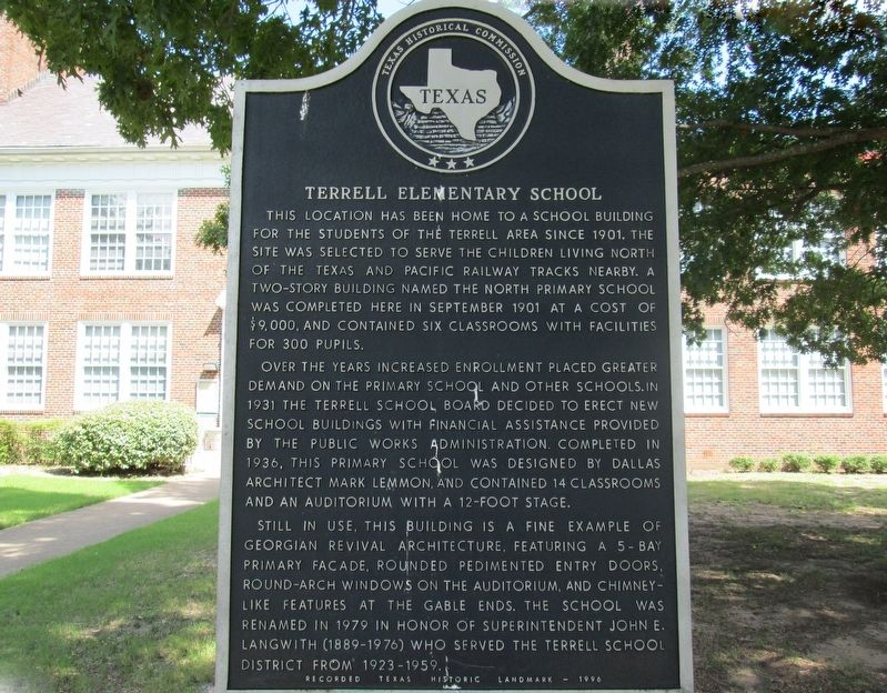 Terrell Elementary School Marker image. Click for full size.