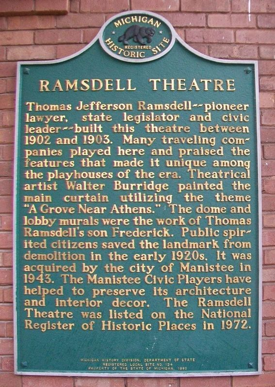Ramsdell Theatre Marker image. Click for full size.