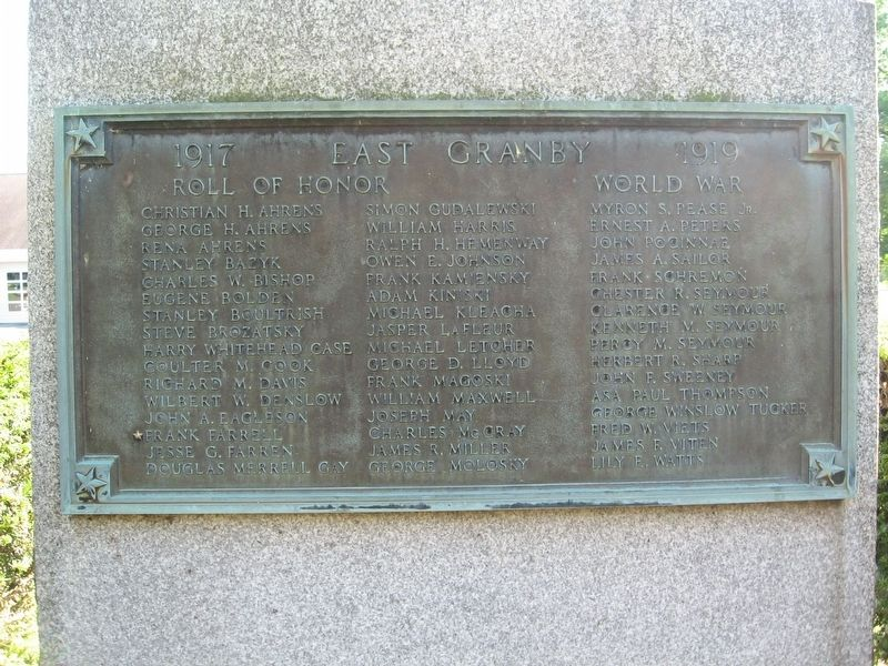 East Granby World War Roll of Honor image. Click for full size.