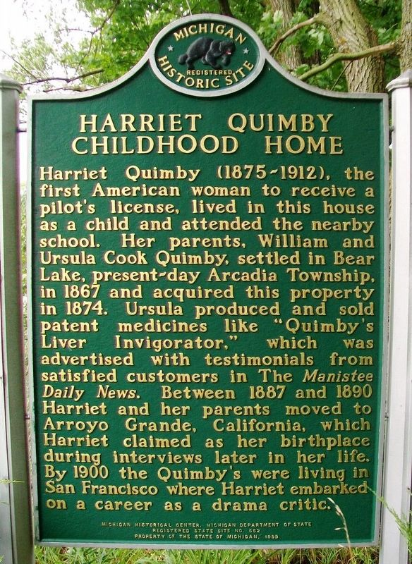 Harriet Quimby Childhood Home Marker (Side B) image. Click for full size.