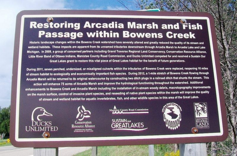 Restoring Arcadia Marsh and Fish Passage within Bowens Creek Marker image. Click for full size.