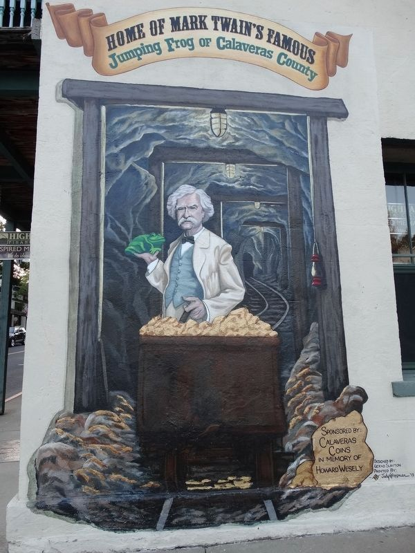 Home of Mark Twain Famous Jumping Frog of Calaveras County Mural image. Click for full size.