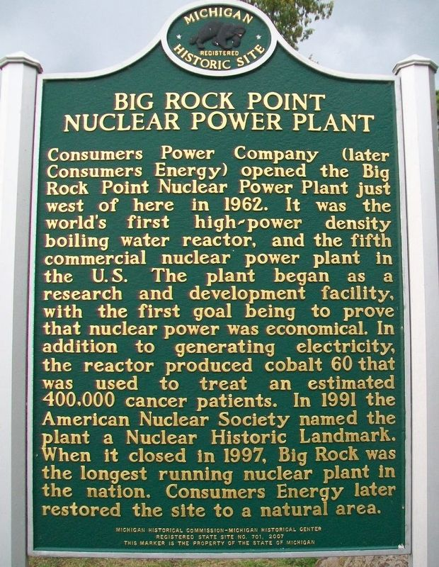 Big Rock Point Nuclear Power Plant Marker (Side B) image. Click for full size.