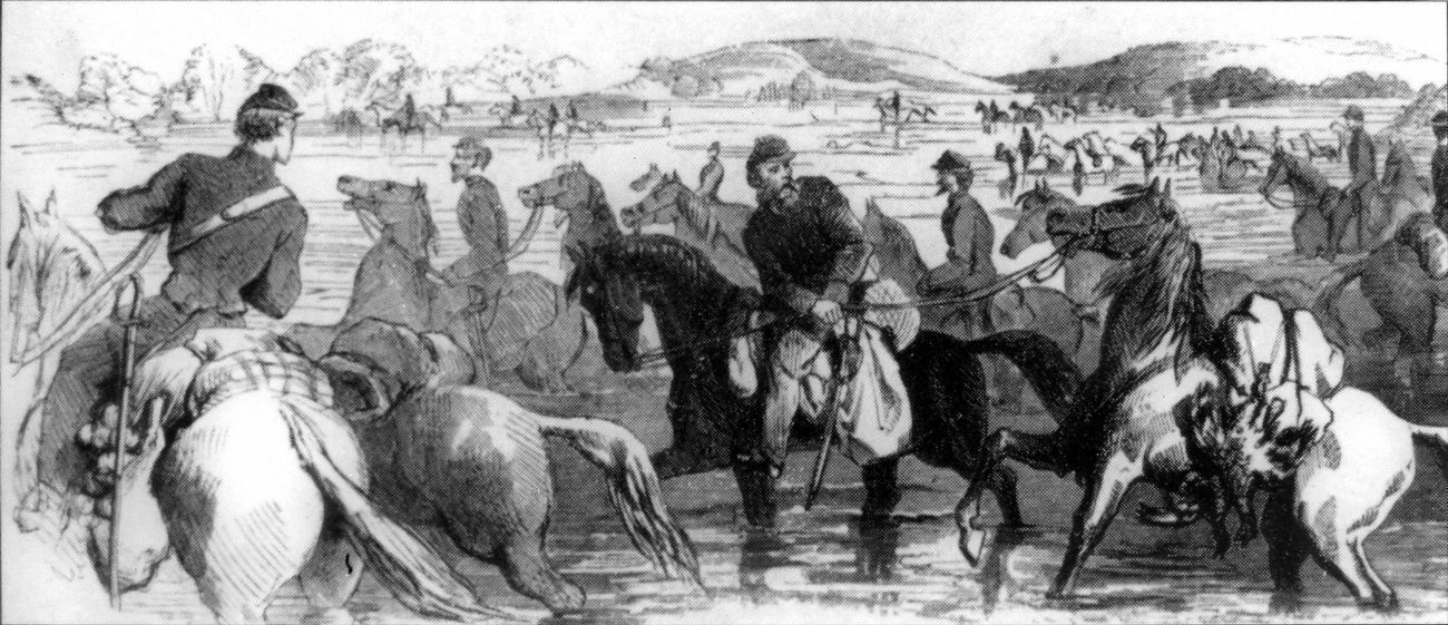Confederate Cavalrymen fording the Potomac River image. Click for full size.